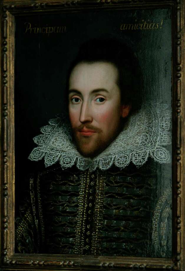 FILE - This is a  Monday March 9, 2009 file of a then newly discovered portrait of William Shakespeare, presented by the Shakespeare Birthplace trust, is seen in central London,  New research depicts William Shakespeare as a grain hoarder, moneylender and tax dodger who became a wealthy businessman during a time of famine.(AP Photo/Lefteris Pitarakis) Photo: LEFTERIS PITARAKIS