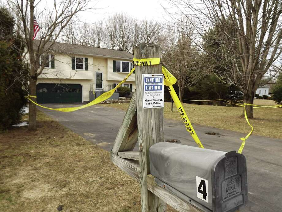 The scene of a fatal house fire at 4 Sunshine Drive in Wilton. The resident and sole occupant of the home was killed Saturday evening. (Photo by Brian Nearing)
