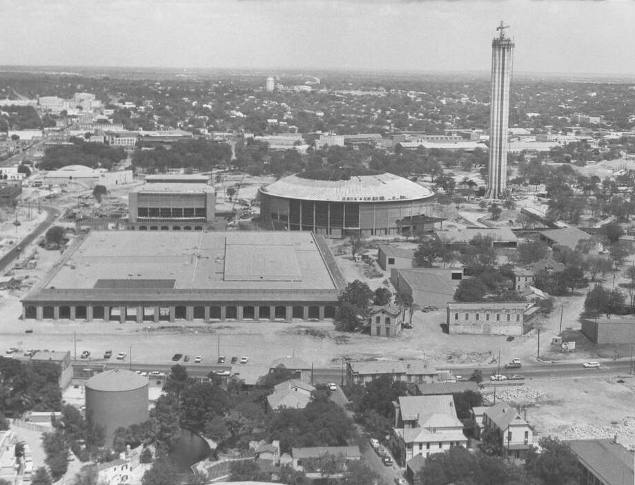 Construction continues on the Tower of the Americas on June 3, 1967. Photo: San Antonio Express-News File Photo