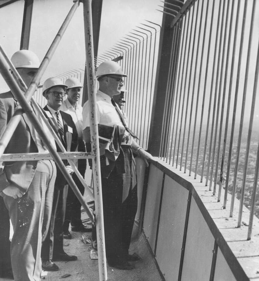 Editors in town for the Texas APME meeting take in the view from the unfinished tophouse of the Tower of the Americas on March 16, 1968. The editors also visited the U.S. and Texas pavilions and other HemisFair sites. The photo was published in the Express on March 17, 1968. Photo: San Antonio Express-News File Photo