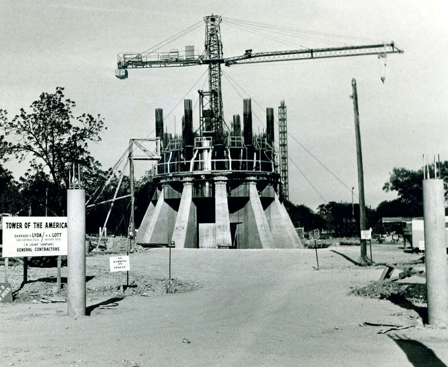 Construction of the base of the Tower of the Americas continues on May 17, 1967. Photo: San Antonio Express-News File Photo / SAN ANTONIO EXPRESS-NEWS