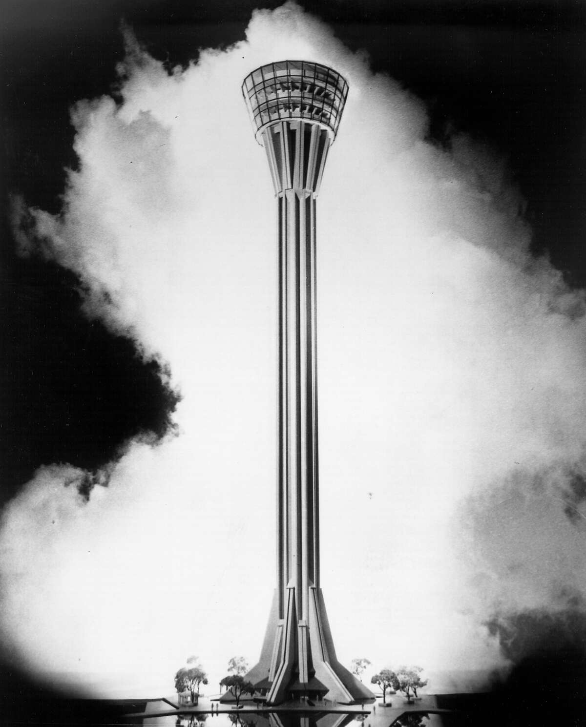 A drawing of the Tower of the Americas from 1965, before construction began.