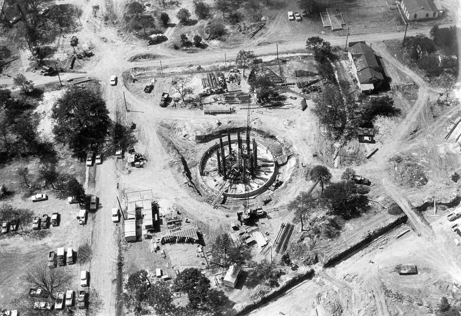 The base of the Tower of the Americas is seen during HemisFair construction on April 29, 1967. Photo: San Antonio Express-News File Photo / SAN ANTONIO EXPRESS-NEWS