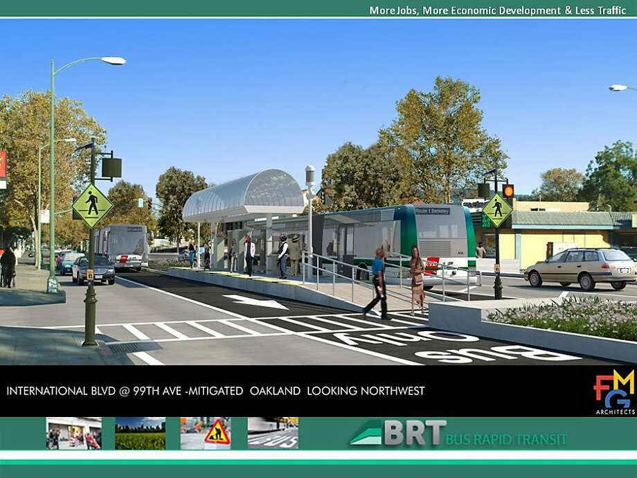 A rendering of the AC Transit express bus line project shows how it would look on International Boulevard at 99th Avenue. Photo: -, AC Transit