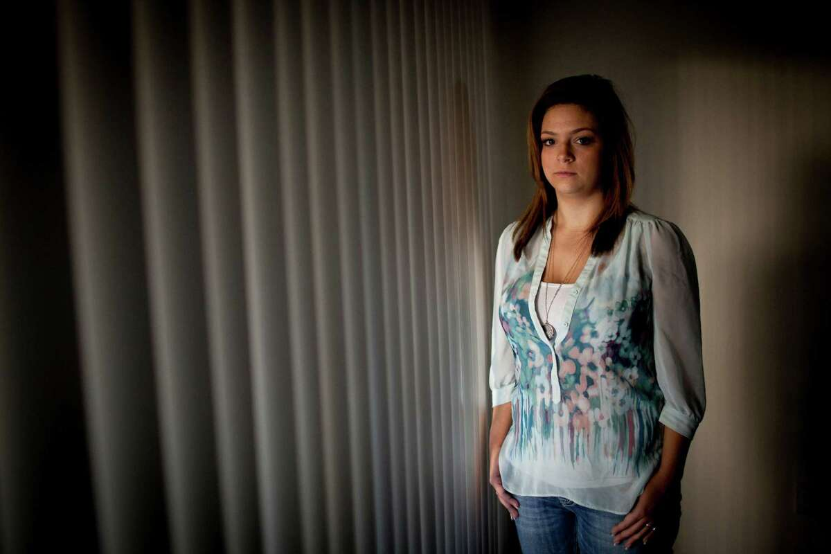 Virginia Messick, who said she was raped by her Air Force training instructor, in her apartment in Marysville, Calif., Feb. 3, 2013. Messick is the first victim of a still-unfolding sexual assault scandal at Lackland Air Force Base in Texas to speak publicly about what she has endured.