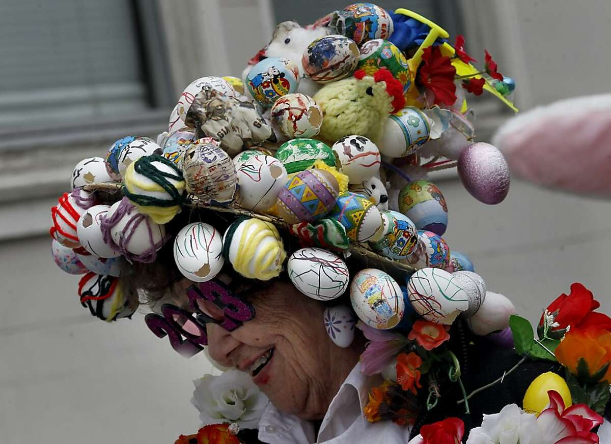 Flora Ballard and her egg friendly Easter bonnet. The 22nd annual Easter Parade and Spring Celebration on Union Street in San Francisco, Calif. attracted thousands of people on a slightly rainy day Sunday March 31, 2013.