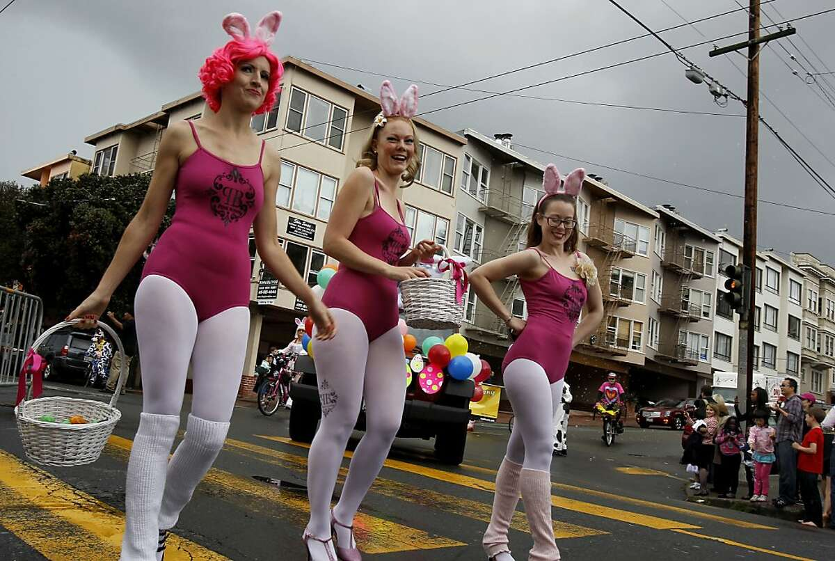 The Pink Bunny girls carried candy treats for parade watchers. The 22nd annual Easter Parade and Spring Celebration on Union Street in San Francisco, Calif. attracted thousands of people on a slightly rainy day Sunday March 31, 2013.