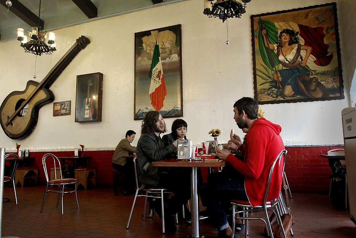 FILE-- Lunch at Taqueria La Cumbre on bustling Valencia Street in San Francisco, Ca. on Thursday Mar. 28, 2013.