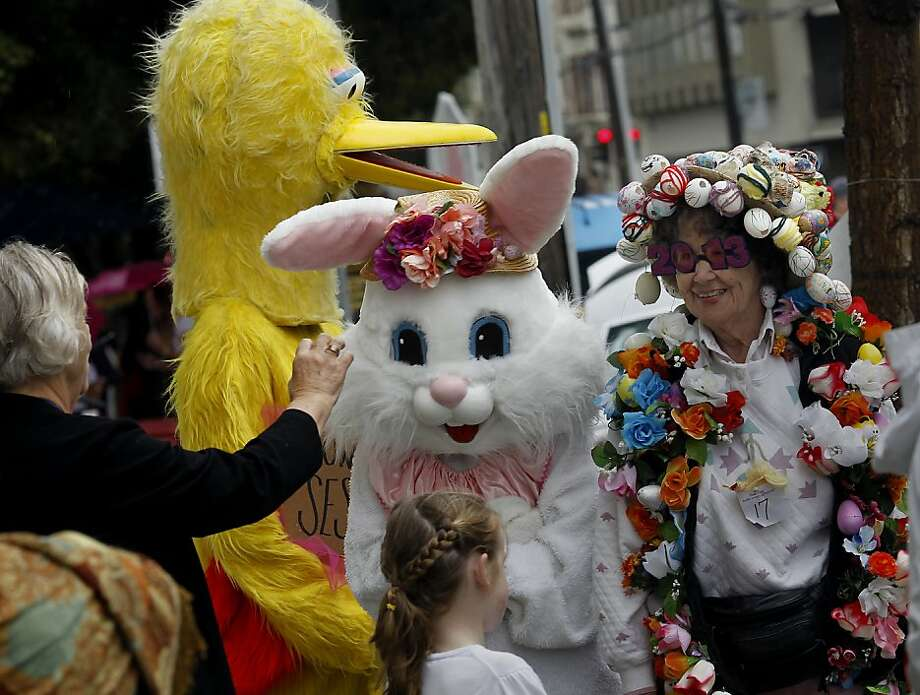 Big Bird, the Easter Bunny and Flora Ballard (right) got ready for the parade. The 22nd annual Easter Parade and Spring Celebration on Union Street in San Francisco, Calif. attracted thousands of people on a slightly rainy day Sunday March 31, 2013. Photo: Brant Ward, The Chronicle