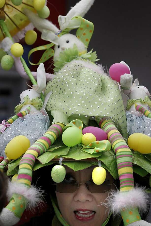 Janice Lee was proud of her handmade Easter bonnet. The 22nd annual Easter Parade and Spring Celebration on Union Street in San Francisco, Calif. attracted thousands of people on a slightly rainy day Sunday March 31, 2013. Photo: Brant Ward, The Chronicle