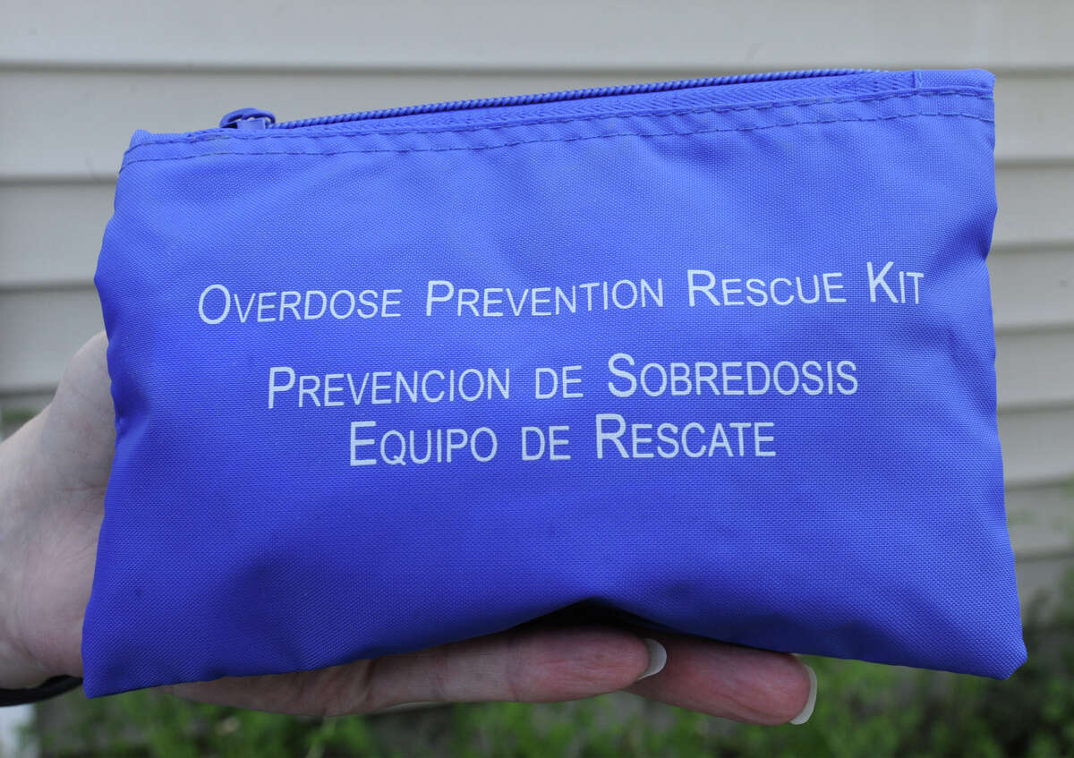 The blue pouch that holds the drug Naloxone Hydrochloride at the Hoags Corners ambulance garage Friday, May 18, 2012 in East Nassau, N.Y. The Hoags Corners EMTs are the first in a pilot program that allows EMTs to administer a drug that can reverse an opioid overdose. (Lori Van Buren / Times Union)