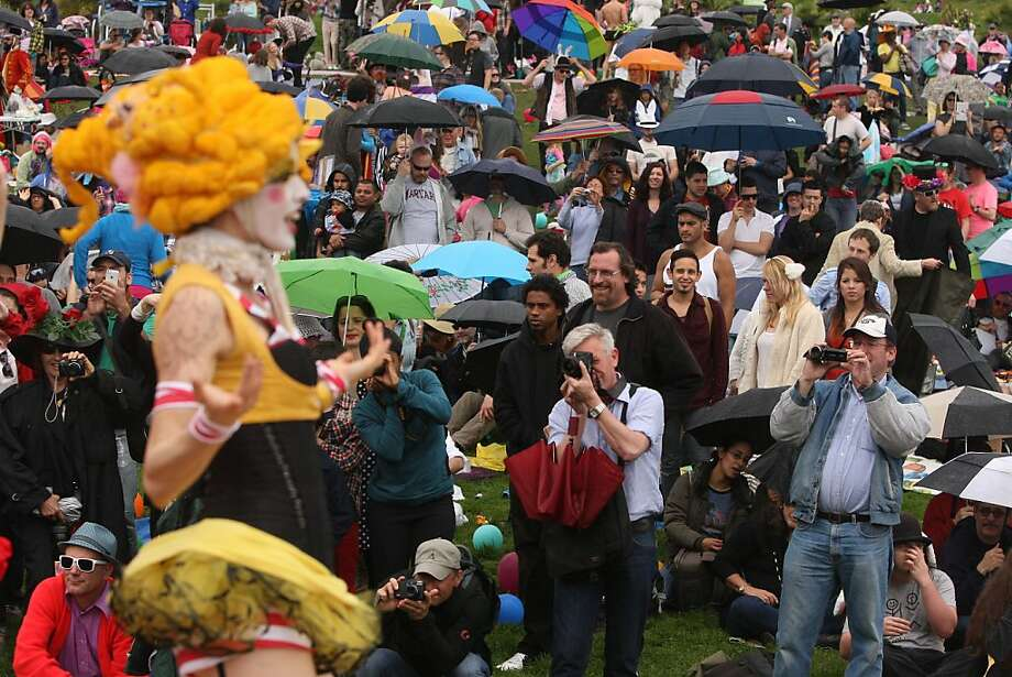 A crowd watches dancers on stage during the 2013 Dolores Park Easter Celebration on March 30th, 2013 in San Francisco, Calif. Photo: Jessica Olthof, The Chronicle