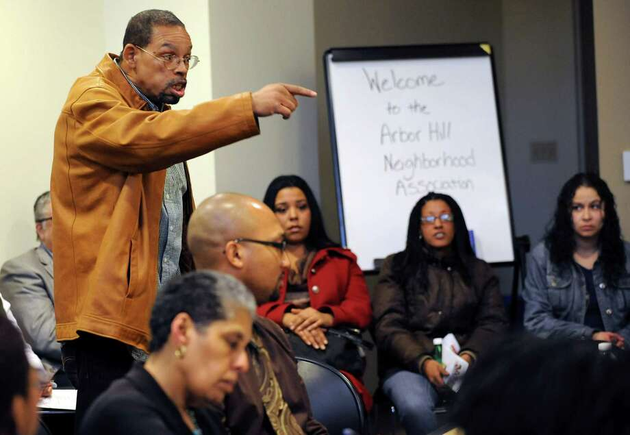 Arbor Hill resident Thurston Gross speaks his mind during a discussion at the Arbor Hill Neighborhood Association meeting Monday, March 25, 2013 in Albany, N.Y. On Thursday police held a hostage rescue training that happened at Ida J. Yarbrough Homes that frightened some residents with the fake ammunition and flash bombs that were used. (Lori Van Buren / Times Union) Photo: Lori Van Buren / 00021720A