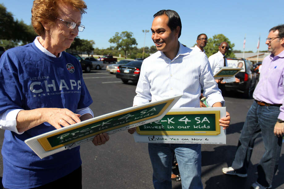 Mayor Julián Castro greets supporter Sister Miriam Mitchell during his successful campaign last fall for a tax hike to fund Pre-K 4 SA. Collection of the new tax starts Monday, and businesses are scrambling to set up the new rate on their systems . Photo: San Antonio Express-News File Photo