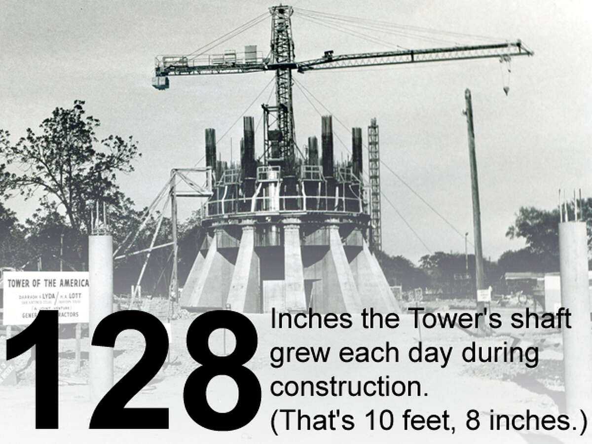 Construction of the base of the Tower of the Americas continues on May 17, 1967. San Antonio Express-News file photo