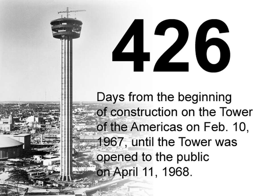 The Tower of the Americas as it appeared shortly after the tophouse was hoisted into place at the top of its concrete shaft in early 1968. San Antonio Express-News file photo Photo: San Antonio Express-News Photo Illustration