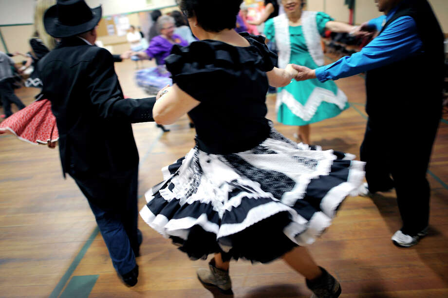 The Caper Cutters Square Dancing Club hosted their weekly dance and beginners lessons at St. Paul's Church in the Sunset District of San Francisco, Monday March 11th, 2013. Photo: Michael Short, Special To The Chronicle / ONLINE_YES