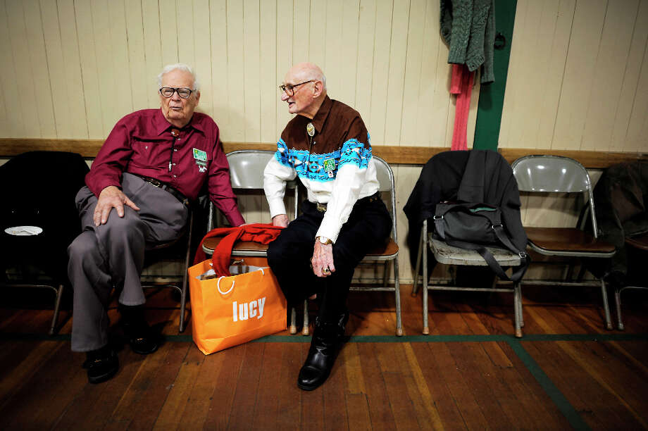 Longtime square dancers Dean Gough(L) sits and chats with Sol Fenster as they take a break between dances.  The Caper Cutters Square Dancing Club hosted their weekly dance and beginners lessons at St. Paul's Church in the Sunset District of San Francisco, Monday March 11th, 2013. Photo: Michael Short, Special To The Chronicle / ONLINE_YES
