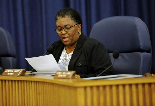 Board member Zenobia Bush reads the motion to name current Assistant Superintendent Research/Evaluation Timothy Chargois as the lone finalist after coming out of Executive Session. Bonton and Timothy Chargois were the two finalists before the board went into Executive Session.  Beaumont ISD trustees met in a special meeting to name a lone finalist to replace retiring superintendent Carrol Thomas Monday night. Dave Ryan/The Enterprise Photo: Dave Ryan