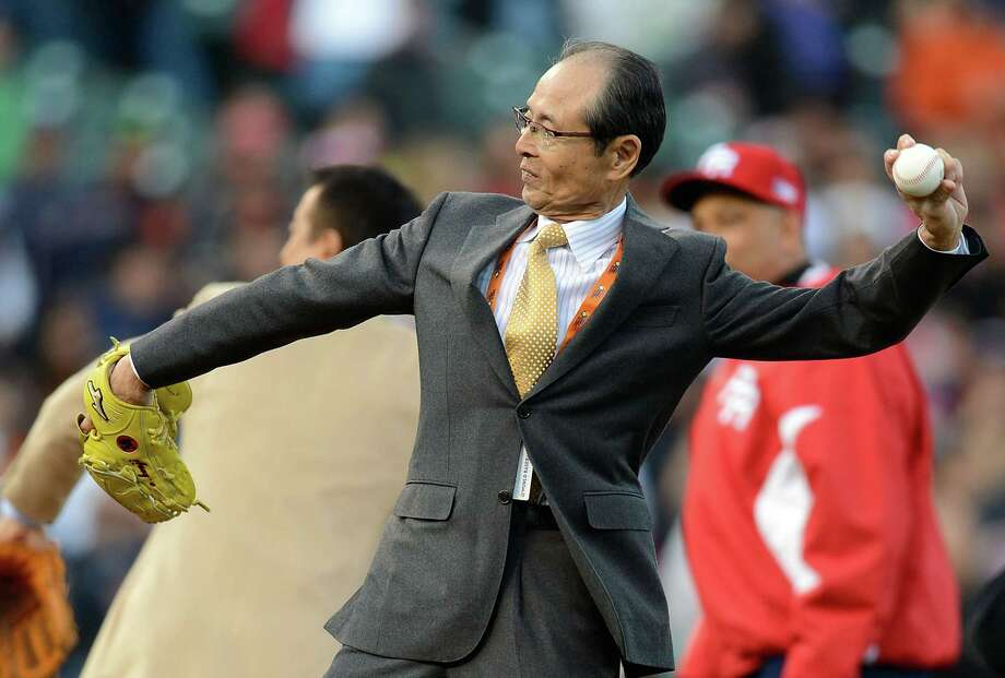 SAN FRANCISCO, CA - MARCH 17:  Japan's baseball great Sadaharu Oh throws out the ceremonial first pitch before the start of  the World Baseball Classic Semifinals game between Team Puerto Rico and Team Japan at AT&T Park on March 17, 2013 in San Francisco, California. Team Puerto Rico won the game 3-1. Photo: Thearon W. Henderson, Getty Images / 2013 Getty Images