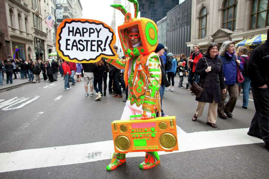 NEW YORK, NY - MARCH 31: Davey Mitchello participates in the annual Easter Day procession on 5th Avenue March 31, 2013 in New York City. The annual festivities attracts hundreds of New Yorkers gathering in front of St. Patrick's Cathedral wearing colorful hats and costumes celebrating one of the holiest days in the Christian calendar. (Photo by Ramin Talaie/Getty Images) *** BESTPIX *** Photo: Ramin Talaie, Getty Images / 2013 Getty Images