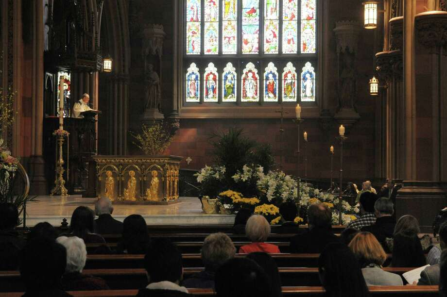 Father Thomas Connery delivers his sermon at  the Easter Sunday service at the Cathedral of the Immaculate Conception on Sunday, March 31, 2013 in Albany, NY.   (Paul Buckowski / Times Union) Photo: Paul Buckowski, Albany Times Union / 10021803A