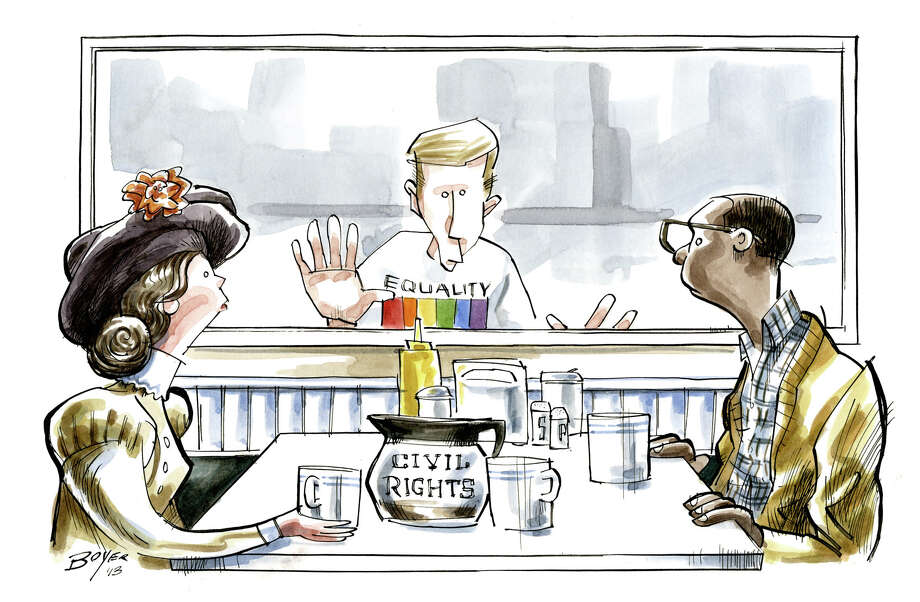 Editorial cartoon pertaining to gay rights. Photo: Jeff Boyer