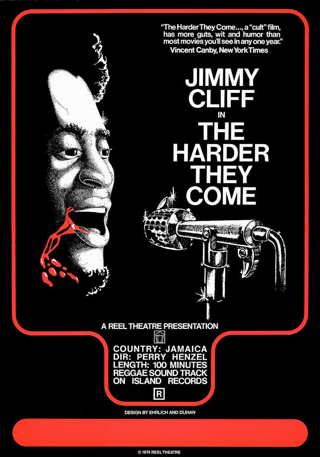 One sheet movie poster advertises the Reggae crime film 'The Harder They Come' (New World Pictures), starring Jimmy Cliff, 1971. Photo: John D. Kisch/Separate Cinema Ar, Getty Images / Moviepix