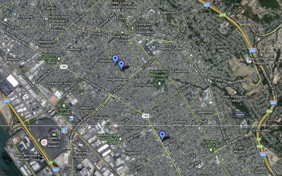 Three people were slain during three separate shooting incidents in Oakland on Sunday. Photo: Google Maps