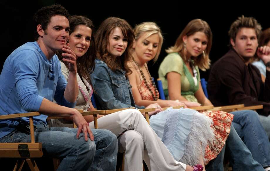 (L-R) Actors Matt Marraccini, Kelly Monaco, Rebecca Herbst, Kirsten Storms, Lindze Letherman and Scott Clifton, all of General Hospital, take questions from the audience on the Wide World of Soaps talk show during ABC's Super Soap Weekend at Walt Disney World's MGM Studios November 13, 2005 in Orlando, Florida. This year marked the 10th anniversary of the event. Photo: Matt Stroshane, Getty Images / 2005 Matt Stroshane