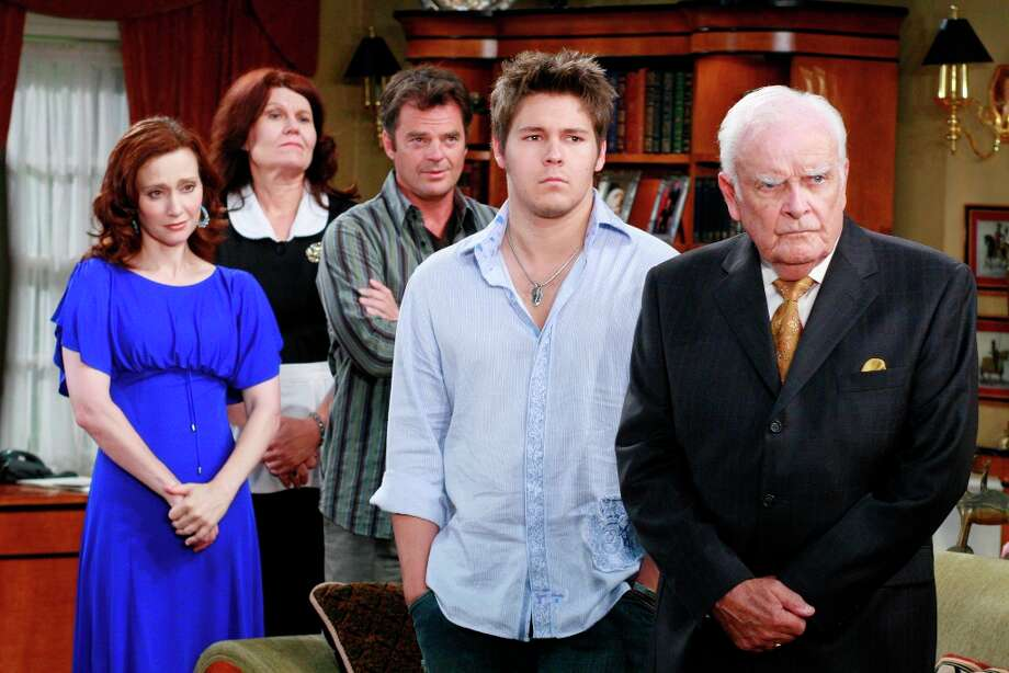 Skye (Robin Christopher), Alice (Bergen Williams), Ned (Wally Kurth), Dillon (Scott Clifton) and Edward (John Ingle) were shocked when Tracy, wearing a blonde wig, barged into the room demanding that Dillon wasn't leaving with Ned, on Friday, July 6, 2007. (Photo by Ron Tom/ ABC via Getty Images)  Photo: Ron Tom, ABC Via Getty Images / 2012 American Broadcasting Companies, Inc.