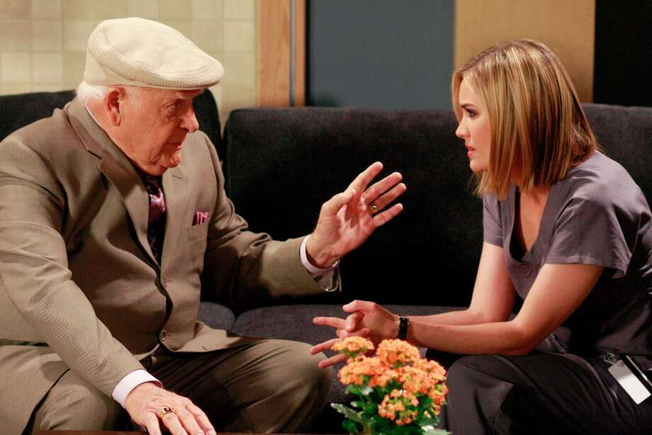 Edward (John Ingle) thanked Rebecca (Natalia Livingston) for allowing him to pretend Emily was still with him when Rebecca's acts of kindness mimicked Emily's, on Friday, May 15, 2009 (Photo by Ron Tom/ ABC via Getty Images)  Photo: Ron Tom, ABC Via Getty Images / 2012 American Broadcasting Companies, Inc.