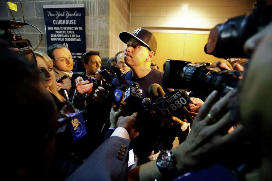 New York Yankees' Alex Rodriguez listens to a question form the media before an opening day a baseball game against the Boston Red Sox, Monday, April 1, 2013, in New York. Photo: Matt Slocum