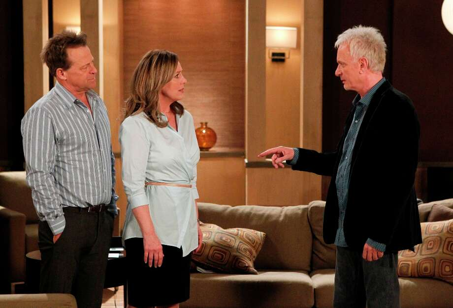 Genie Francis (Laura), Anthony Geary (Luke) and Kin Shriner (Scotty) in a scene that aired the week of March 4, 2013.  (Photo by Rick Rowell/ABC via Getty Images) Photo: Rick Rowell, ABC Via Getty Images / 2013 American Broadcasting Companies, Inc.