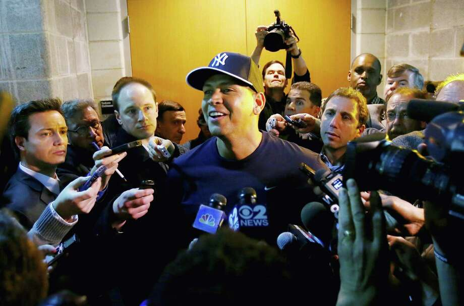 NEW YORK, NY - APRIL 01:  Alex Rodriguez #13 of the New York Yankees answers questions outside the clubhouse before the game against the Boston Red Sox during Opening Day on April 1, 2013 at Yankee Stadium in the Bronx borough of New York City.  (Photo by Elsa/Getty Images) Photo: Elsa, Getty Images / 2013 Getty Images