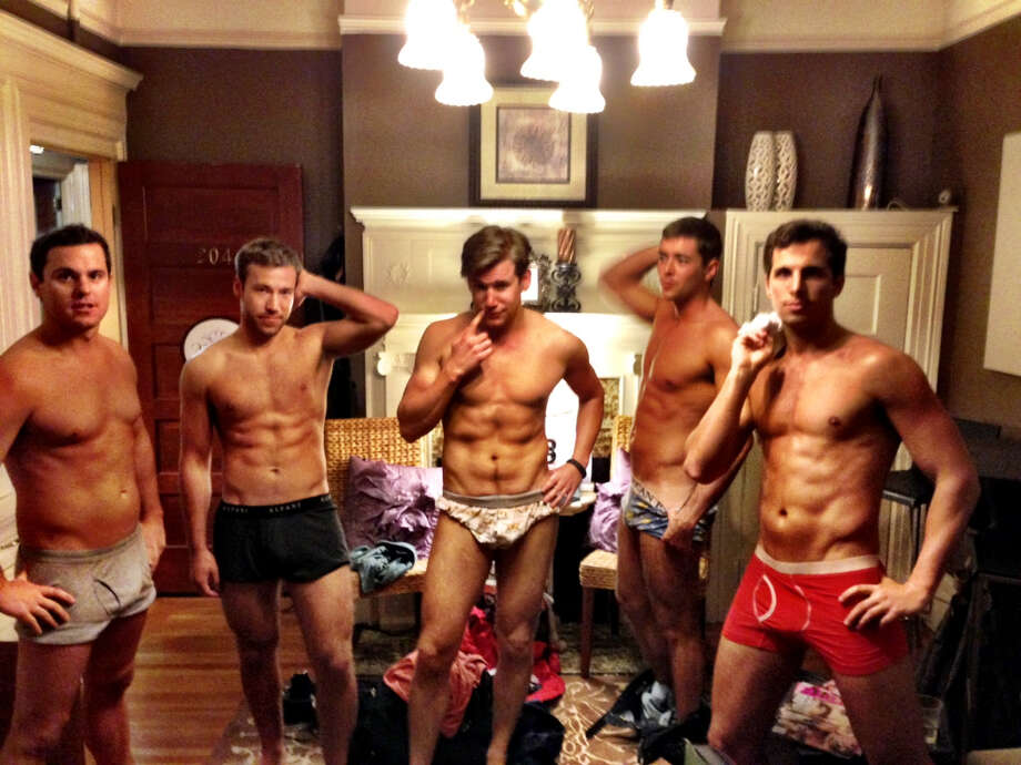 The men of Mr. Marina after being spray tanned at Brown Sugar.