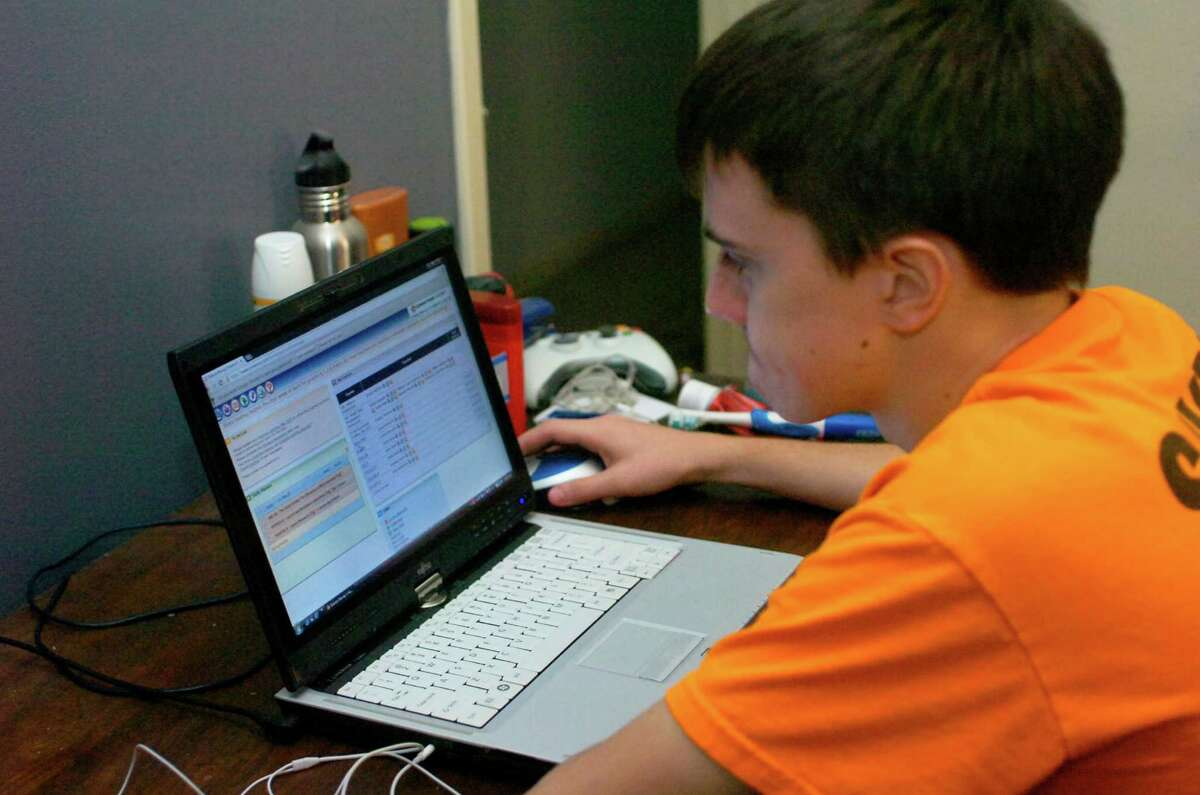 Dakota Murray, 17, of Jasper usually attends classes in his room. Murray, a high school junior, is enrolled in Texas Connections Academy, an online public school for grades 3-11.