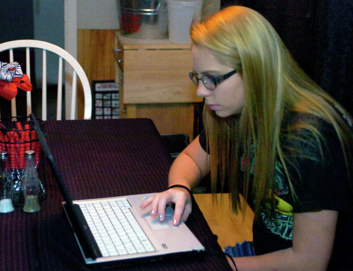 Ashley Hargrove, 16, of Jasper, normally attends her virtual classes right at the family kitchen table. Hargrove, a sophomore, in enrolled in Texas Connections Academy, an online public school serving grades 3-11.