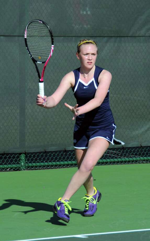 Greens Farms Academy senior Caitlin Rummelsburg won No. 1 doubles 8-0 with Frankie Garofalo and won No. 2 singles 6-0, 6-0 in the Dragons' 9-0 win over Loomis Chaffee School on March 30. Photo: Contributed Photo