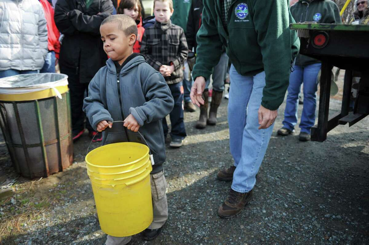 Anthony Landy Jr., 6, from Albany carries a bucket with trout toward the water at Six Mile Waterworks on Monday, April 1, 2013 in Albany, NY. Children helped Department of Environmental Conservation staff who stocked the lake with nearly 2,000 rainbow trout on Monday. DEC staff also gave lessons on casting and about fishing in general. (Paul Buckowski / Times Union)