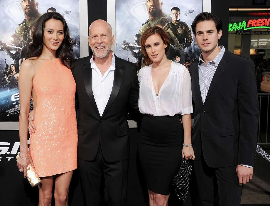 Actress/model Emma Heming Willis, actor Bruce Willis, actress Rumer Willis and Jayson Blair arrive at the G.I. Joe: Retaliation Los Angeles premiere at TCL Chinese Theatre on March 28, 2013 in Hollywood, California. Photo: Gregg DeGuire, WireImage / 2013 Gregg DeGuire