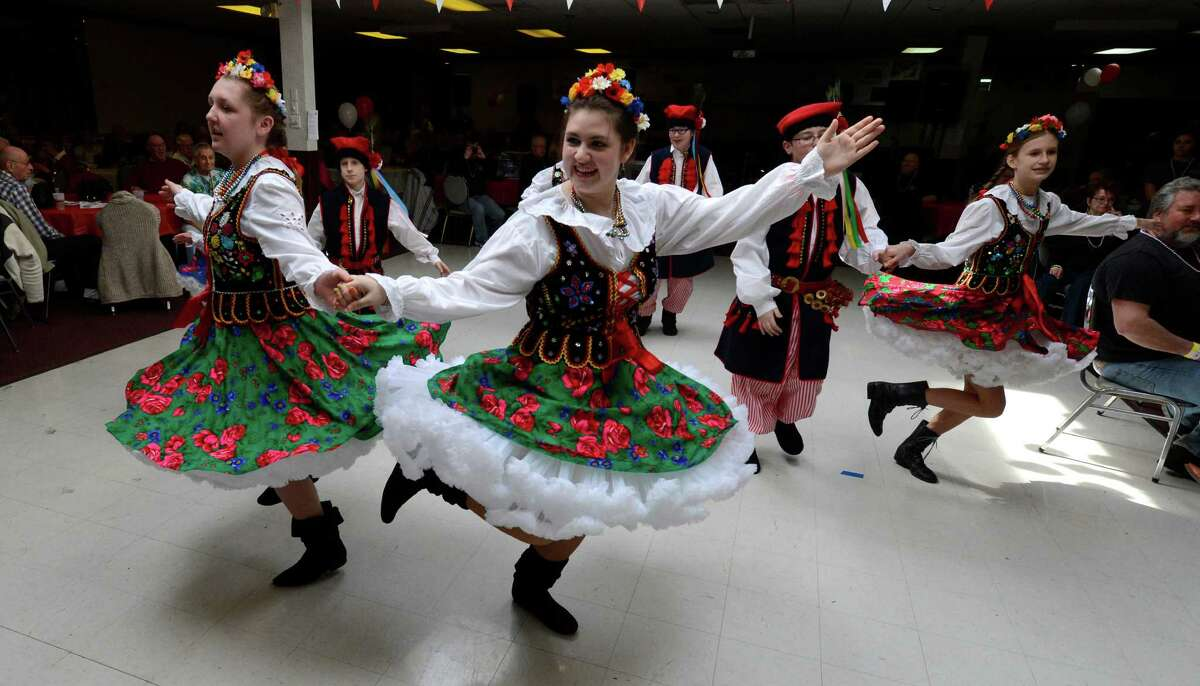 Members of the St. Adelbert's Dance Group show their prowess during the Dyngus Day celebration April 1, 2013, at the Elks lodge in Rotterdam, N.Y. (Skip Dickstein/Times Union)