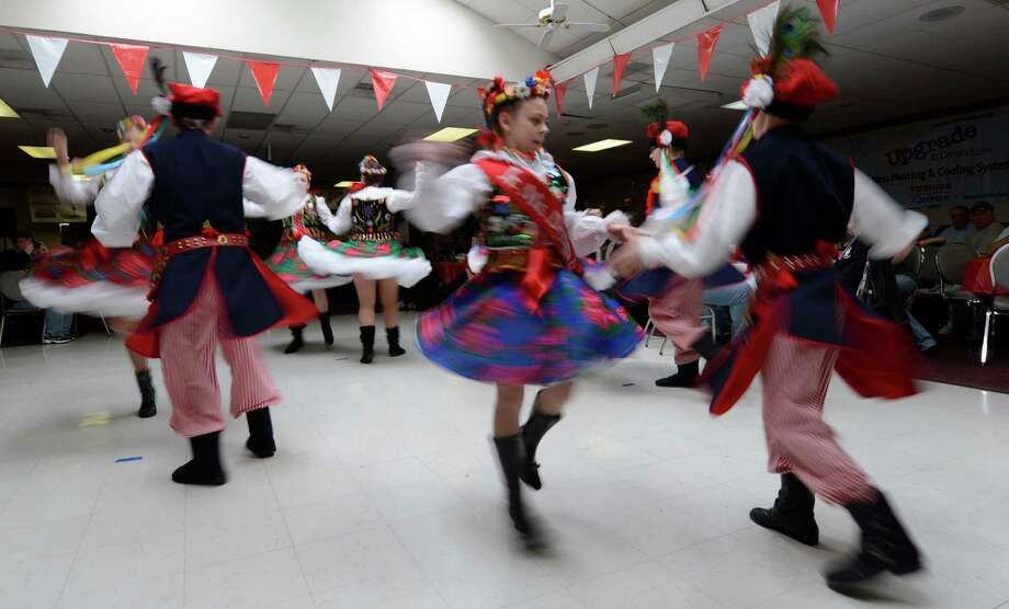 Members of the St. Adelbert's Dance Group show their prowess during the Dyngus Day celebration April 1, 2013,  at the Elks lodge in Rotterdam, N.Y.   (Skip Dickstein/Times Union) Photo: SKIP DICKSTEIN / 10021460A