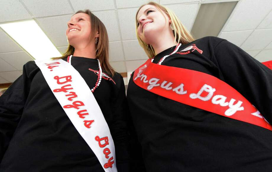 Ms. Dyngus Day Teresa Michnicki, left and another Ms. Dyngus Day Stacey Novak are all smiles at the Dyngus Day celebration April 1, 2013,  at the Elks lodge in Rotterdam, N.Y.   (Skip Dickstein/Times Union) Photo: SKIP DICKSTEIN / 10021460A