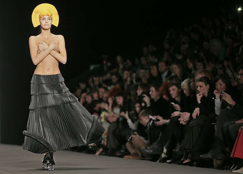 Russian undressing: Georgian designer Ria Keburia apparently didn't get the top finished in time for Moscow Fashion Week. Photo: Mikhail Metzel, Associated Press