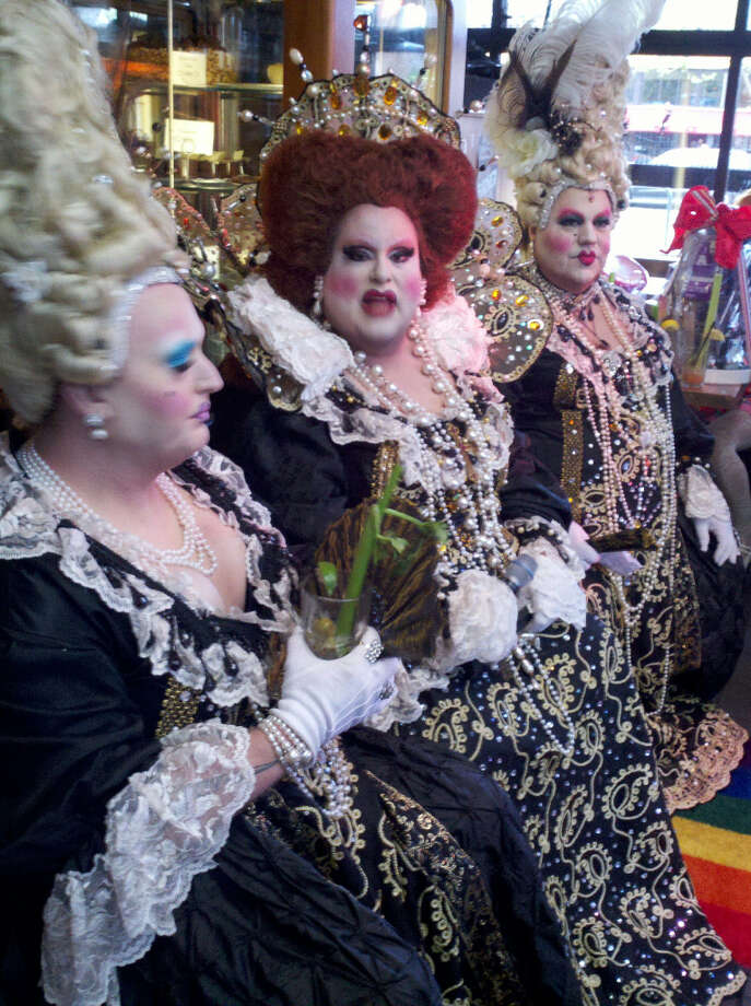 Cafe Flore, the Castro; Mar. 31, 2013; drag queens rule over the remains of rained-upon Hunky Jesus festivities