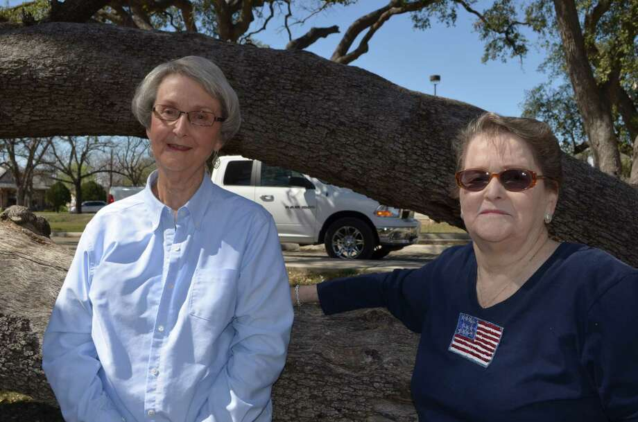 Now:Nell Griffin-Graham, 79, is a retired school teacher while her sister Sydney Davenport, 77, is a retired bookkeeper. In February, the sisters re-created a photo taken in 1939 of them climbing a large tree in their grandmother's Reagan Wells yard with this one at the El Progresso Memorial Library in Uvalde. Photo: Heard, Reader Submission