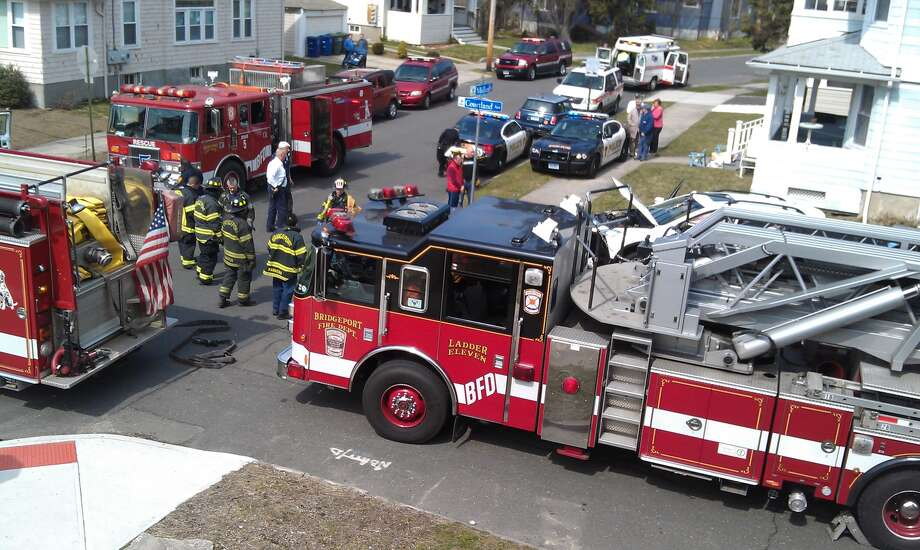 Emergency crews respond to a crash at Midland Street and Courtland Avenue on Monday, April 1, 2013. Photo: Contributed Photo