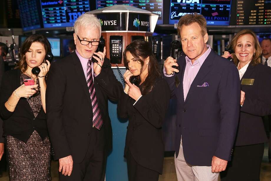 Actors  Finola Hughes, Tony Geary, Kelly Monaco, Kin Shriner and Genie Francis of ABC's soap opera General Hospital ring the opening bell at the New York Stock Exchange on April 1, 2013 in New York City in celebration of the soap's 50th anniversary. Photo: Astrid Stawiarz, Getty Images / 2013 Getty Images