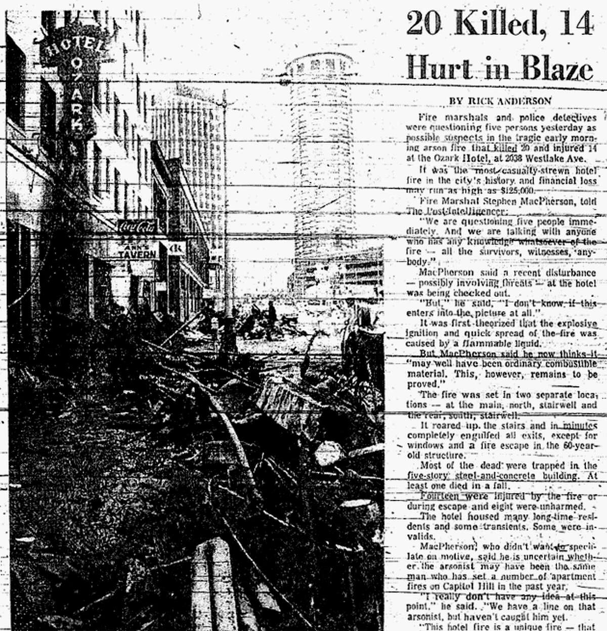 The Ozark Hotel fire in March 1971 killed 21 people overall and injured 13. One of the victims died after being taken to a hospital.
